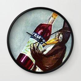 Vintage Slate Gray Bitter Campari 'Penguin' Aperitif Lithograph Advertisement Poster Wall Clock