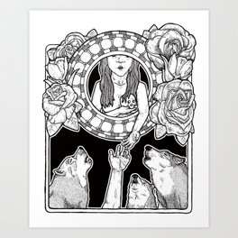 an offering to the wolves (black and white) Art Print