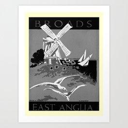 retro noir et blanc East Anglia Art Print