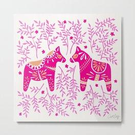 Swedish Dala Horses – Pink Palette Metal Print