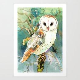 Barn Owl, woodland design owl Art Print