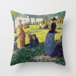 "Georges Seurat ""Oil Sketch for La Grande Jatte"" Throw Pillow"