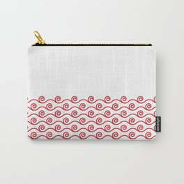 Waves Trim Pattern Flame Red Carry-All Pouch