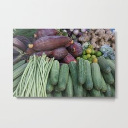 Vegetables Vegan Fruits Market Asia Metal Print
