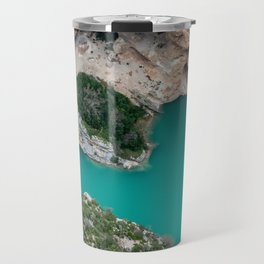 Blue river between the cliffs Travel Mug