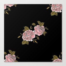 Pink Roses Watercolor Painting Pattern Canvas Print