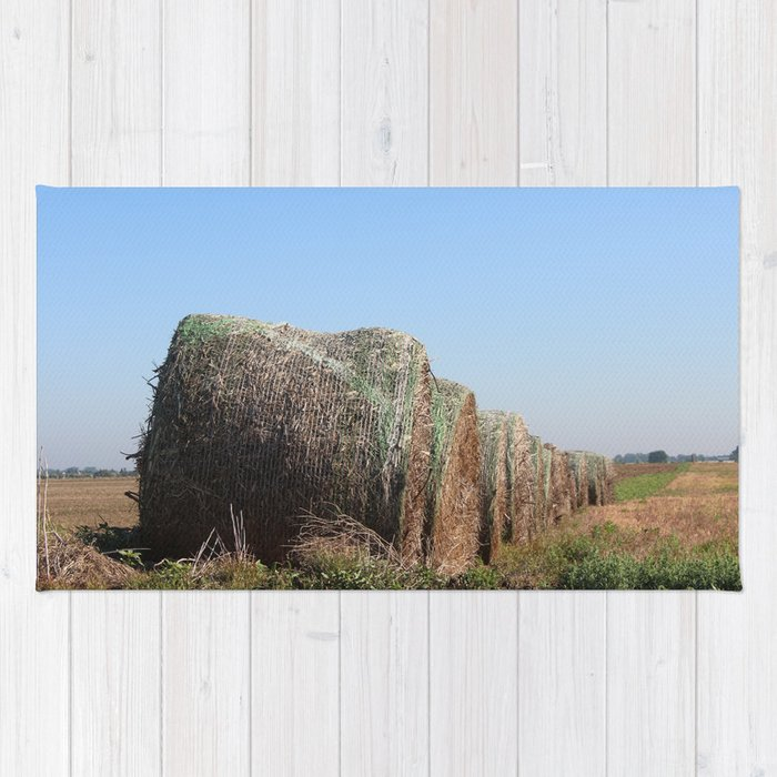 Kansas Country Hay Bales with blue sky Rug
