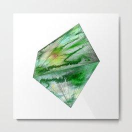 Crystal Green Watercolor Gem Metal Print