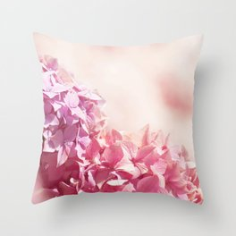 Dreamy pink hydrangea - Flower - Floral Throw Pillow