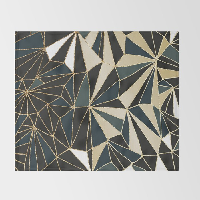 New Art Deco Geometric Pattern - Emerald green and Gold Throw Blanket