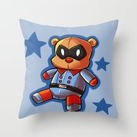 bucky Throw Pillows featuring bucky!bear by zombietonbo