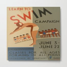 Vintage poster - Learn to swim Metal Print