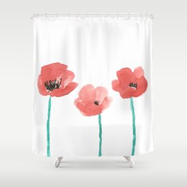 Three Poppies \\ Watercolor Flowers Shower Curtain