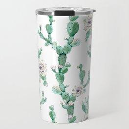 Cactus Rose Climb on White Travel Mug