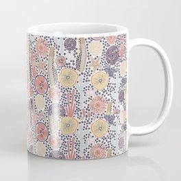 Abstract underwater plants. Seastar corals sponges reef. Blue yellow pink ocean themed print. Distressed look. Coffee Mug