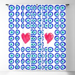 Evil Eye Protected Heart white background Blackout Curtain