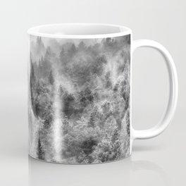 Pinsapos into the woods. BW. Foggy sunrise Coffee Mug