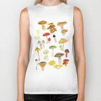 mushrooms Biker Tanks featuring Mushrooms by Lara Paulussen