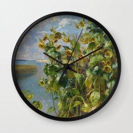 Tidewater Sunflowers on the seacoast landscape painting by Hélène Funke Wall Clock