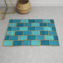 Ocean Blue Watercolor Subway Tiles Rug