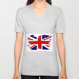 Union Jack British Flag With Grunge Unisex V-Neck