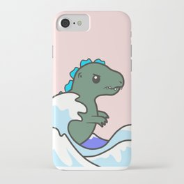 kawaii tiny godzilla kanagawa wave iPhone Case