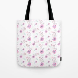 Pastel pink teal watercolor hand painted daisies floral Tote Bag
