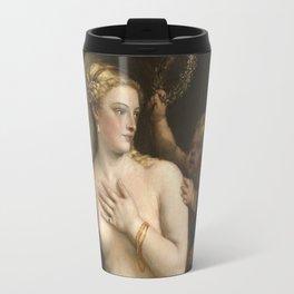 "Titian Venetian,Fine ART,""Venus with a Mirror"",anno1555, oil on canvaSWall Art Travel Mug"