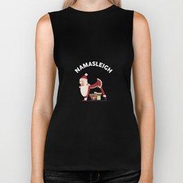 Funny Christmas Namasleigh Santa Yoga Position Gift T-Shirt Biker Tank