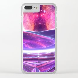 Purple Nebula Space Beams Clear iPhone Case