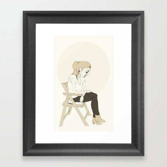 girl sitting Framed Art Print