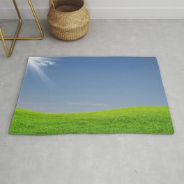 Green graas and blue sky Rug