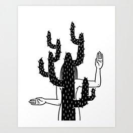 Girl imitating a cactus Art Print