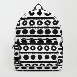 Hand Drawn Black and White Geometric Circles, Dots and Lines Backpack