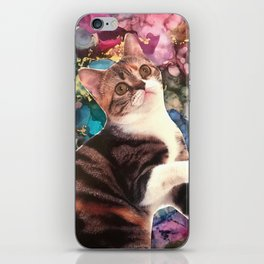 Cute Cat on a Marbled Background iPhone Skin