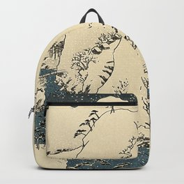 Snowy hills of Kiso in the style of Horoshige Backpack