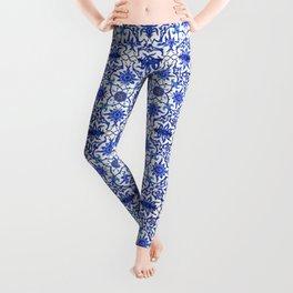 Art Nouveau Chinese Tile, Cobalt Blue & White Leggings