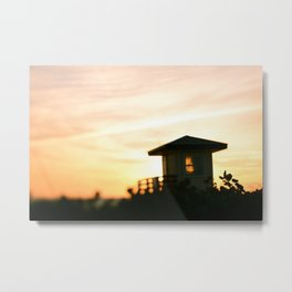 Lifeguard Stand at Sunset Metal Print