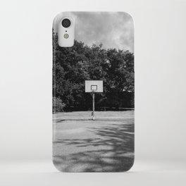 Shoot hoops - Amersfoort The Netherlands photo | Basketball hoop black and white noir monochrome dramatic street photography art print iPhone Case