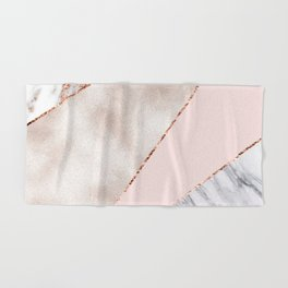 Spliced mixed rose gold marble Hand & Bath Towel