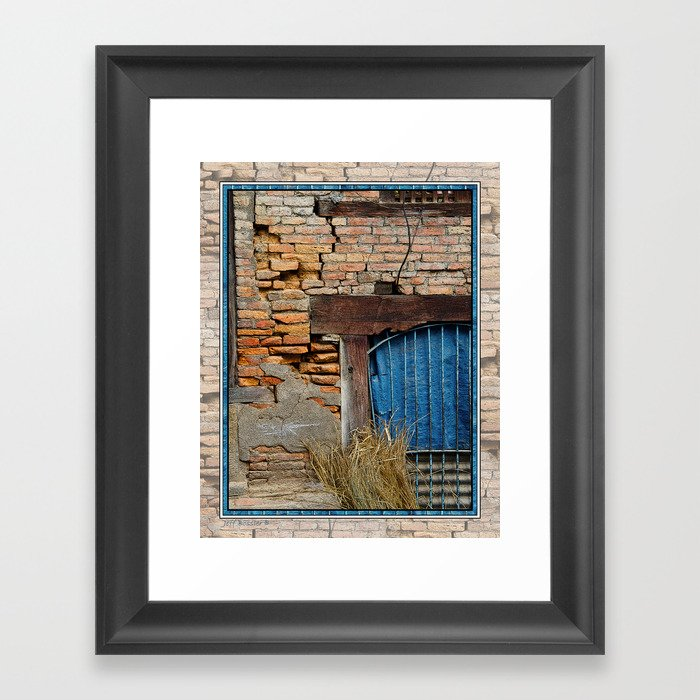 Old brick wall and blue tarp window bhaktapur nepal framed for Window design in nepal