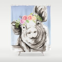 Petunia Pig Shower Curtain