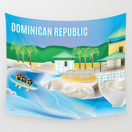 Dominican Republic - Skyline Illustration by Loose Petals Wall Tapestry
