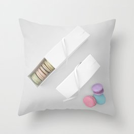 Top View Macarons Gift Box with fantastic color Throw Pillow