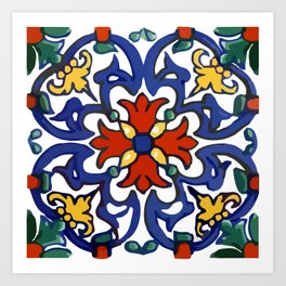 Talavera Mexican tile inspired bold design in blue, green, red, orange Art Print