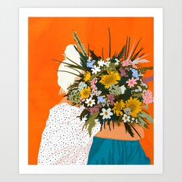 Happiness Is To Hold Flowers In Both Hands #illustration Art Print