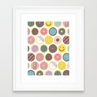 donuts Framed Art Prints featuring DONUTS! by JONGMEE