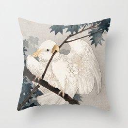 Cockatoo on a tree - Japanese vintage woodblock print Throw Pillow
