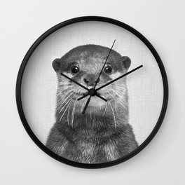 Otter - Black & White Wall Clock