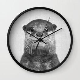 Otter - Black & White Wall Clock